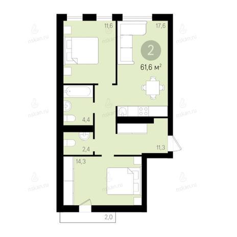 Вариант №2669, 3-комнатная квартира в жилом комплексе Дунаевский