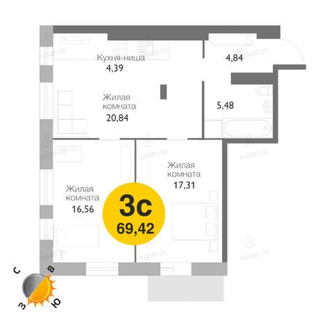 Вариант №1165, 3-комнатная квартира в жилом комплексе Ясный берег