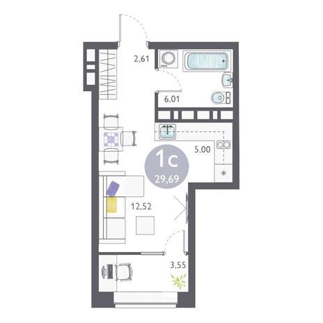 Вариант №3351, 1-комнатная квартира в жилом комплексе