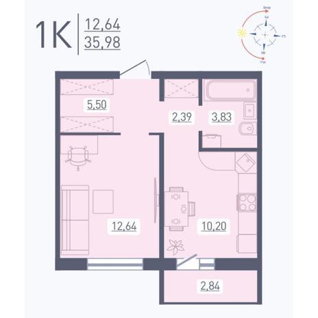 Вариант №5567, 1-комнатная квартира в жилом комплексе