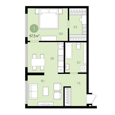 Вариант №5509, 2-комнатная квартира в жилом комплексе
