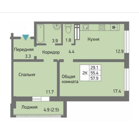 Вариант №4509, 2-комнатная квартира в жилом комплексе Ясный берег