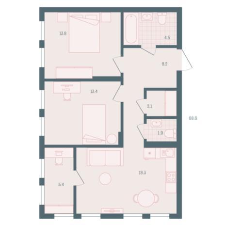 Вариант №5939, 2-комнатная квартира в жилом комплексе