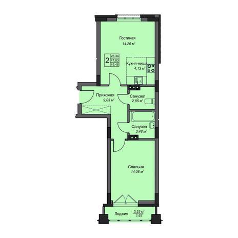 Вариант №3497, 2-комнатная квартира в жилом комплексе На Народной