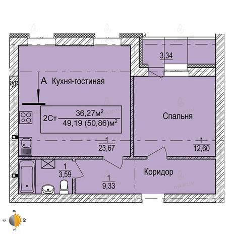 Вариант №2245, 2-комнатная квартира в жилом комплексе