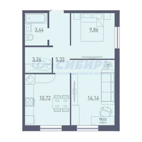 Вариант №3727, 2-комнатная квартира в жилом комплексе Крымский