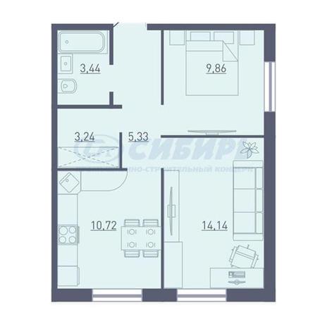 Вариант №3727, 2-комнатная квартира в жилом комплексе