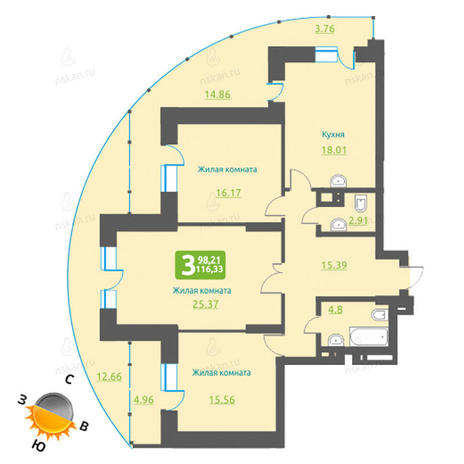 Вариант №1226, 4-комнатная квартира в жилом комплексе