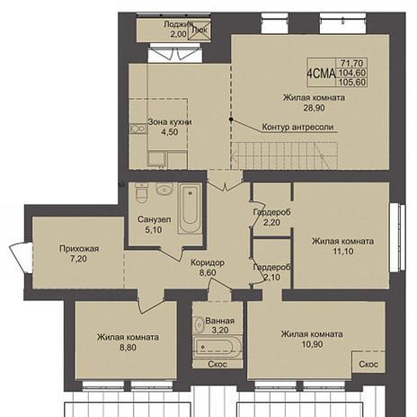 Вариант №3795, 4-комнатная квартира в жилом комплексе