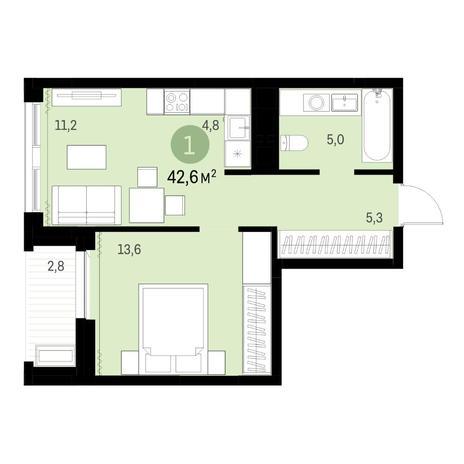 Вариант №6331, 2-комнатная квартира в жилом комплексе