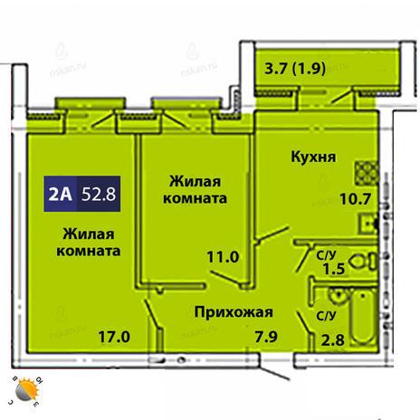 Вариант №1838, 2-комнатная квартира в жилом комплексе