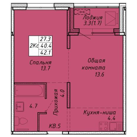 Вариант №6467, 2-комнатная квартира в жилом комплексе
