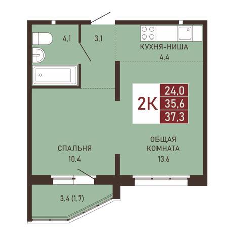 Вариант №3660, 2-комнатная квартира в жилом комплексе Виноград