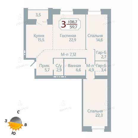Вариант №1750, 3-комнатная квартира в жилом комплексе Бульварный переулок