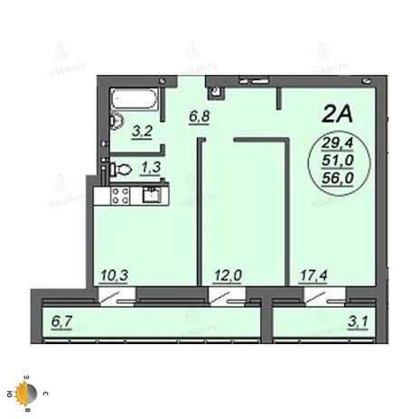 Вариант №2228, 2-комнатная квартира в жилом комплексе Свобода