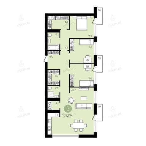 Вариант №2788, 4-комнатная квартира в жилом комплексе