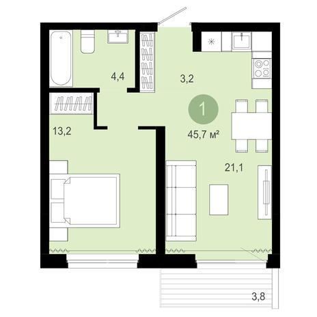 Вариант №4080, 2-комнатная квартира в жилом комплексе