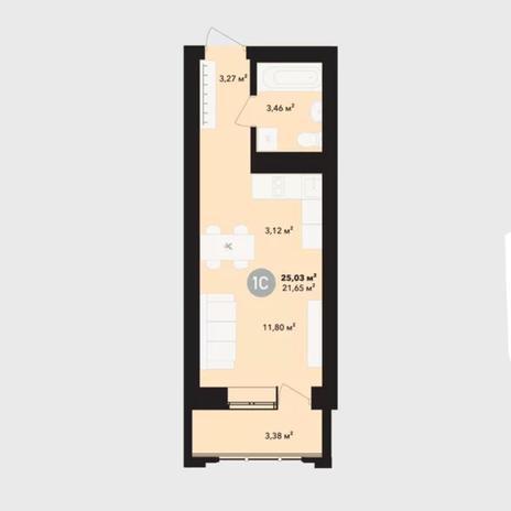 Вариант №5231, 1-комнатная квартира в жилом комплексе