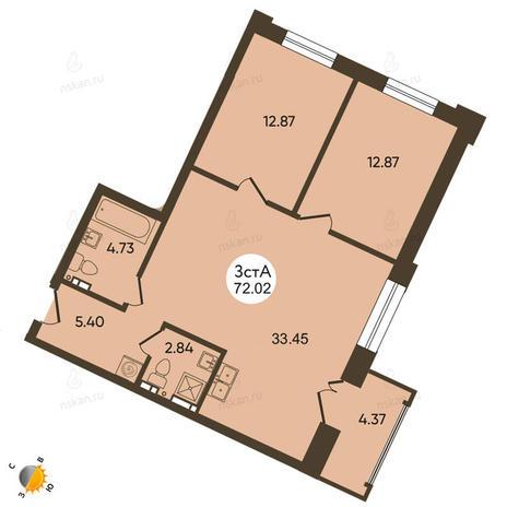 Вариант №2100, 3-комнатная квартира в жилом комплексе