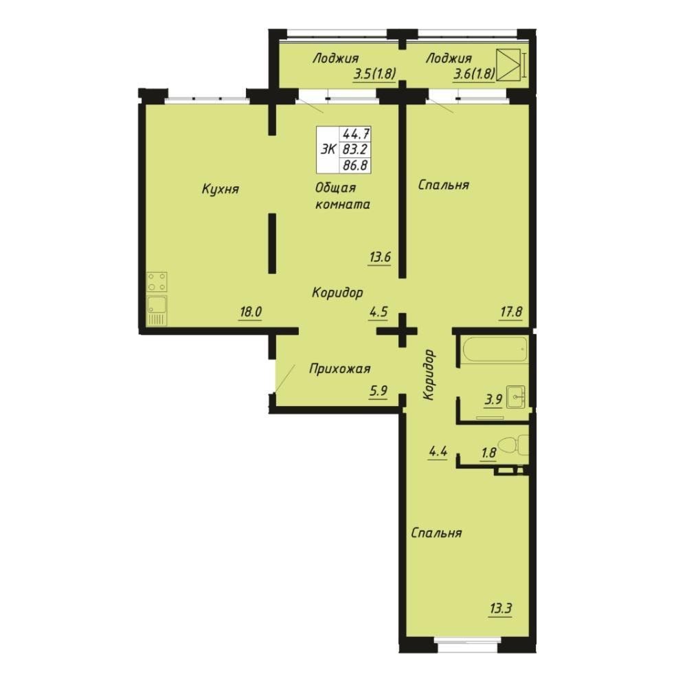 Планировка 3-комнатная площадью 86.8 м<sup>2</sup> в ЖК Галактика