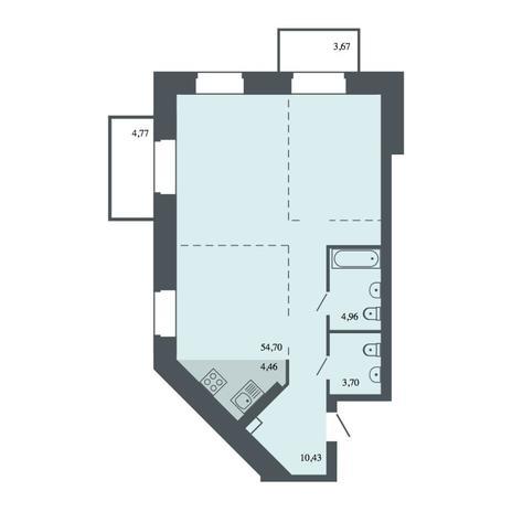Вариант №4430, 3-комнатная квартира в жилом комплексе Спектр