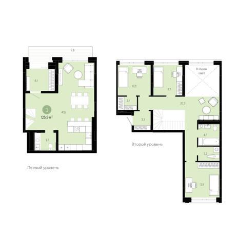 Вариант №6023, 4-комнатная квартира в жилом комплексе