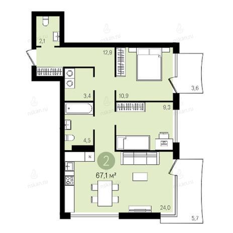Вариант №2379, 3-комнатная квартира в жилом комплексе Квартал на Никитина