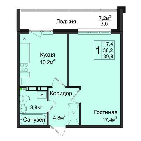 Вариант №5030, 1-комнатная квартира в жилом комплексе Ясный берег