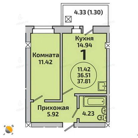 Вариант №1984, 2-комнатная квартира в жилом комплексе