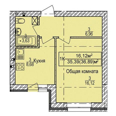 Вариант №3334, 1-комнатная квартира в жилом комплексе