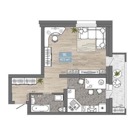Вариант №2008, 1-комнатная квартира в жилом комплексе Галактика