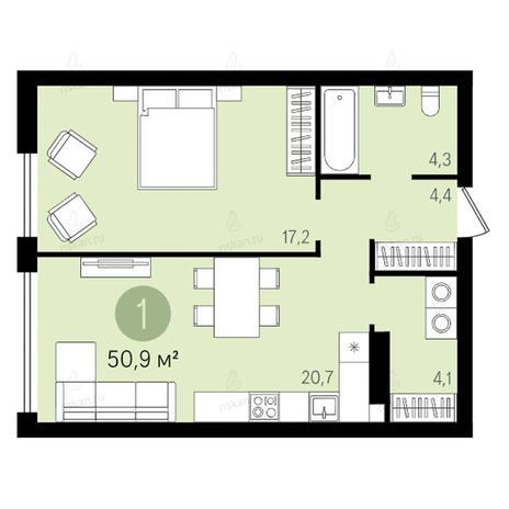 Вариант №2596, 2-комнатная квартира в жилом комплексе Квартал на Никитина