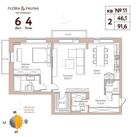 Вариант №359, 2-комнатная квартира в жилом комплексе Flora & Fauna