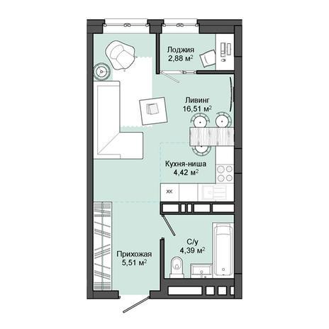 Вариант №3047, 1-комнатная квартира в жилом комплексе