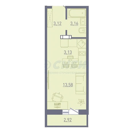 Вариант №3750, 1-комнатная квартира в жилом комплексе