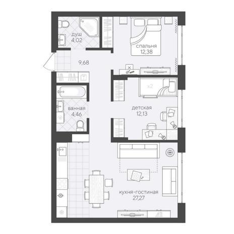 Вариант №6210, 3-комнатная квартира в жилом комплексе
