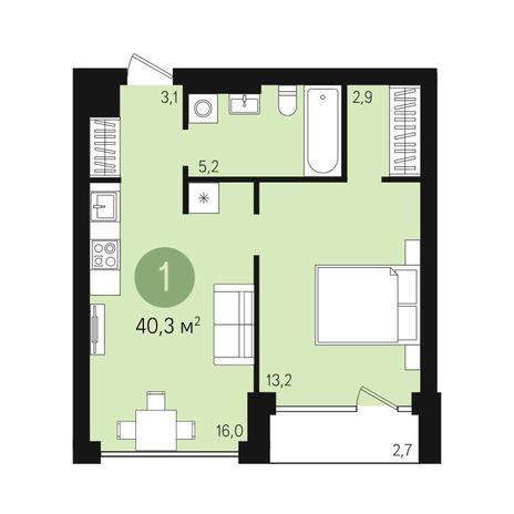 Вариант №3608, 2-комнатная квартира в жилом комплексе