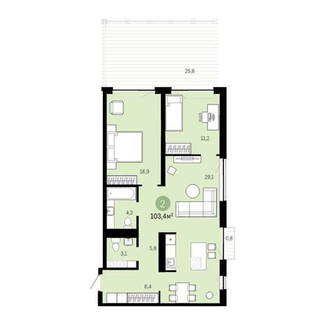 Вариант №6395, 3-комнатная квартира в жилом комплексе