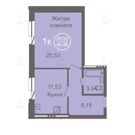 Вариант №2421, 1-комнатная квартира в жилом комплексе