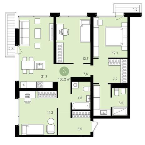 Вариант №4174, 4-комнатная квартира в жилом комплексе Европейский Берег
