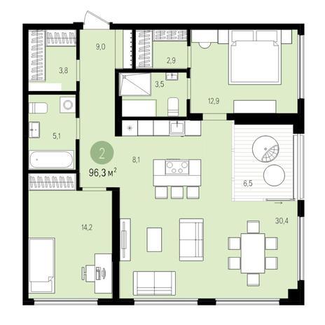 Вариант №5511, 3-комнатная квартира в жилом комплексе Нобель