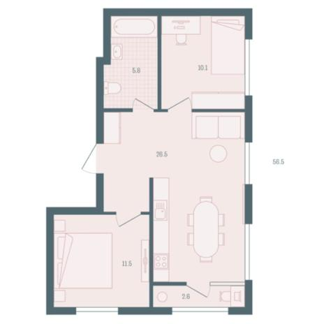 Вариант №5925, 2-комнатная квартира в жилом комплексе