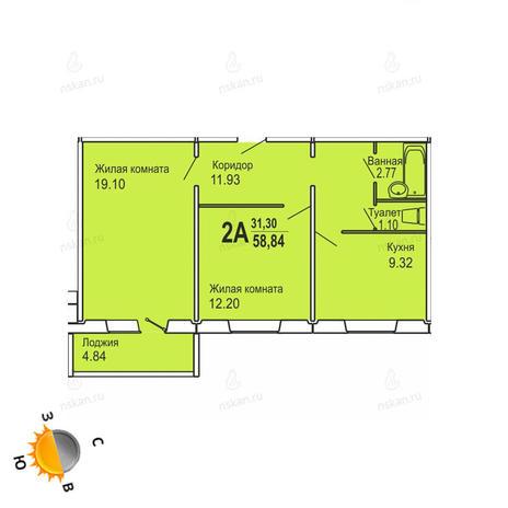 Вариант №732, 2-комнатная квартира в жилом комплексе Софийский квартал