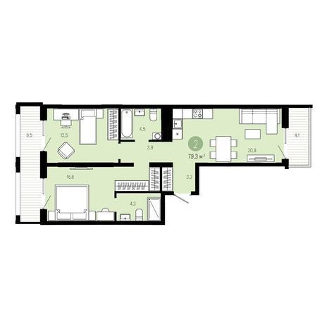 Вариант №4840, 3-комнатная квартира в жилом комплексе Европейский Берег