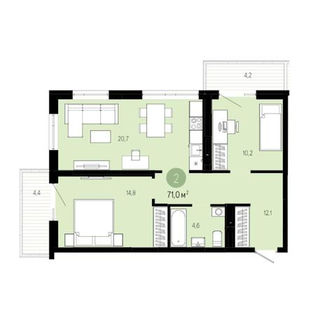 Вариант №6016, 3-комнатная квартира в жилом комплексе