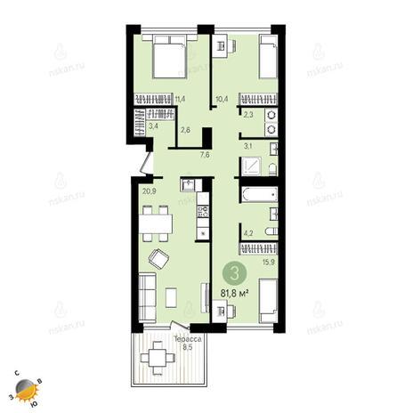 Вариант №2407, 4-комнатная квартира в жилом комплексе Европейский Берег