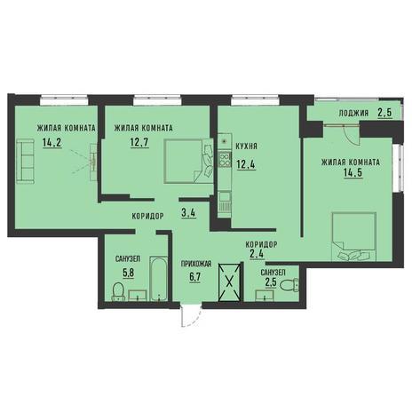 Вариант №4186, 3-комнатная квартира в жилом комплексе