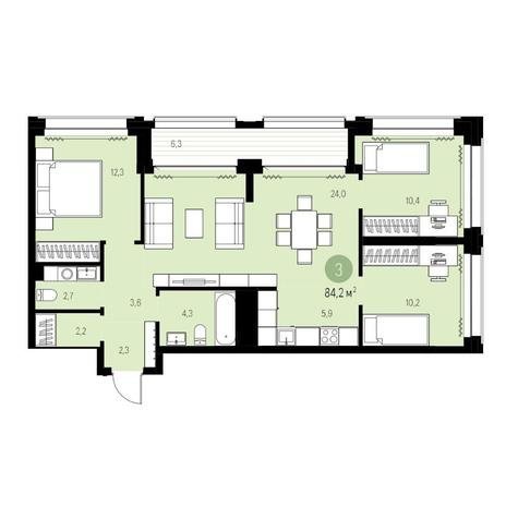 Вариант №5442, 4-комнатная квартира в жилом комплексе Нобель