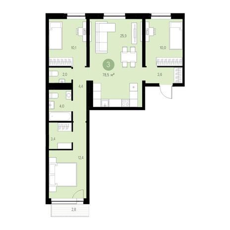 Вариант №4667, 4-комнатная квартира в жилом комплексе Европейский Берег