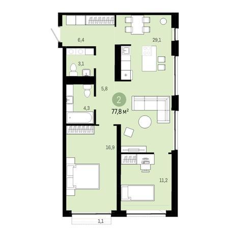 Вариант №6381, 3-комнатная квартира в жилом комплексе